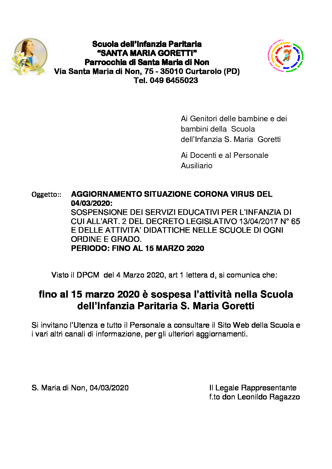 thumbnail of Aggiornamento Sospensione Attività didattiche fino al 15 marzo-2020