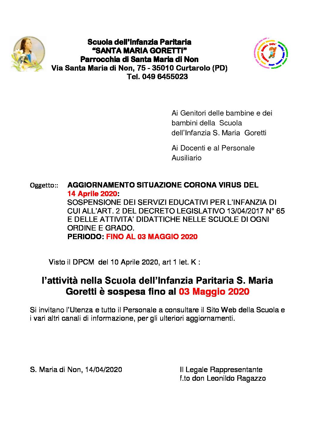 thumbnail of Aggiornamento Sospensione Attività didattiche fino al 03 Maggio 2020