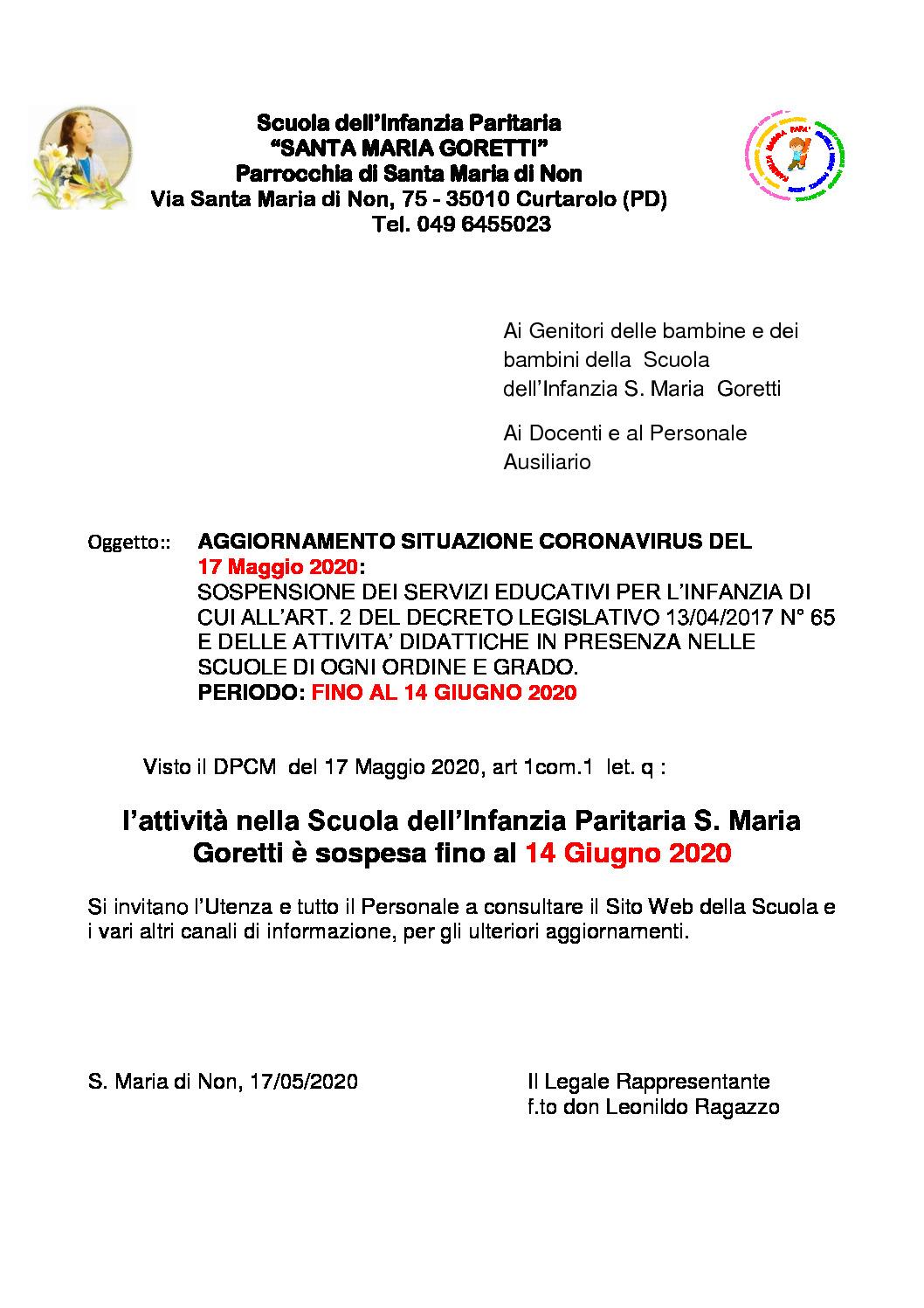 thumbnail of Aggiornamento Sospensione Attività didattiche fino al 14 Giugno 2020